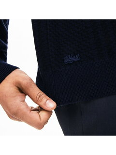 Lacoste Crewneck Houndstooth Cotton and Cashmere Sweater AH8388L: Navy Blue / Black