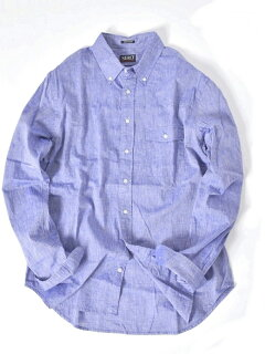 Cotton Linen Buttondown Shirt 121-17-0026: Light Blue