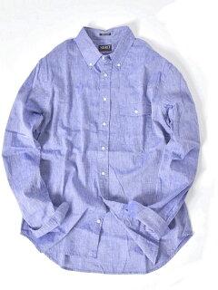 Cotton Linen Buttondown Shirt 121-17-0026: Light Blue