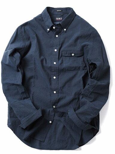 Cotton Linen Buttondown Shirt 121-17-0026: Navy