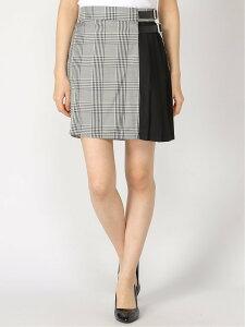 WEGO WEGO/(L)ベルトツキサイドプリーツスカート ウィゴー スカート ミニスカート グレー ベージュ