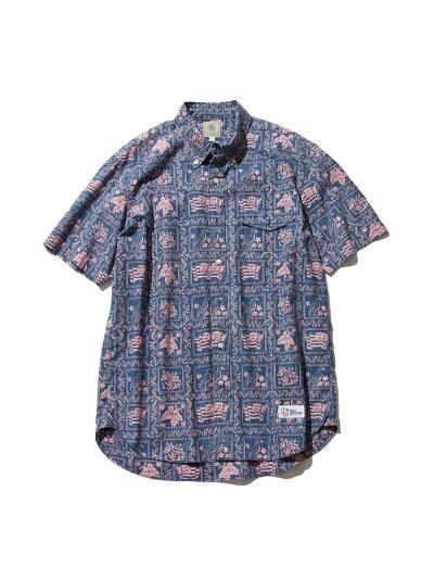 Lahaina Sailor Short Sleeve Button Down Shirt HHOVIA0611: Navy