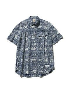Lahaina Sailor Short Sleeve Button Down Shirt HHOVIA0611: Pink