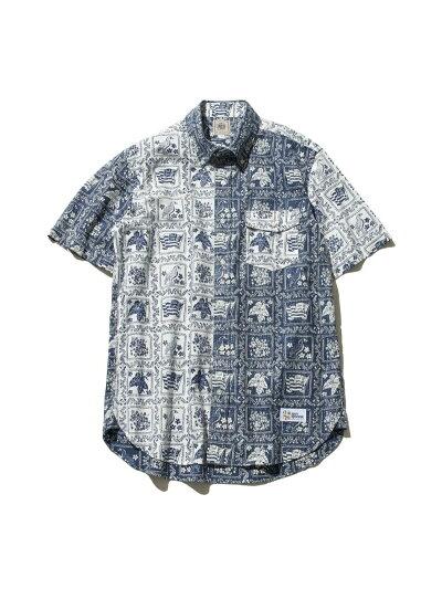 Fun Lahaina Sailor Short Sleeve Button Down Shirt HHOVIA0612: White