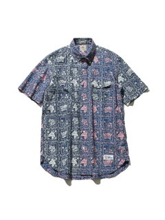 Fun Lahaina Sailor Short Sleeve Button Down Shirt HHOVIA0612: Pink