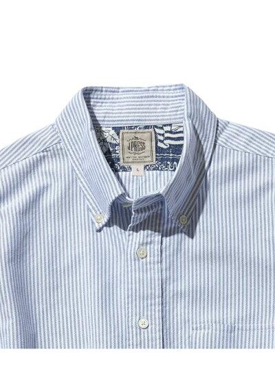 Oxford Lahaina Sailor Short Sleeve Popover Button Down Shirt HHOVIA0613: Saxe Stripe