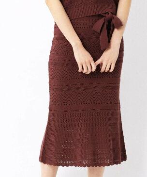 【SALE/60%OFF】COMME CA ISM 透かし柄ニットスカート(ONIGIRI) コムサイズム スカート タイトスカート ブラウン ホワイト