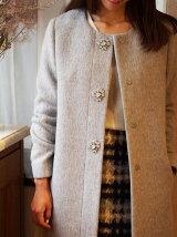 ●JOC 16FW ビジュー ノーカラーコート / 装飾