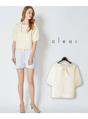 clear レディース カットソー クリア【30%OFF】clear 【2ndline】 背中リボンボーダートップス ...