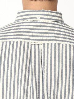 Indigo Seersucker Short-Sleeve Popover Buttondown Shirt 11-01-0750-139: Navy Stripe