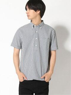 Indigo Seersucker Short-Sleeve Popover Buttondown Shirt 11-01-0750-139: Navy Gingham