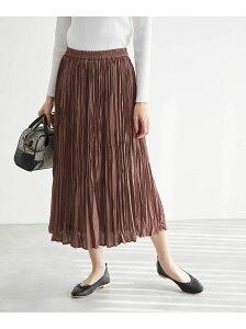 【SALE/50%OFF】ROPE' PICNIC サテンワッシャープリーツスカート ロペピクニック スカート スカートその他 ブラウン ブラック グレー ブルー