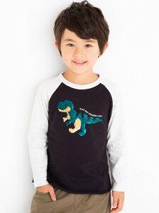 SLAP SLIP 恐竜 キラキラ スワイプ 長袖 Tシャツ (100cm~130cm) ベベ オンライン ストア カットソー Tシャツ ブラック グレー