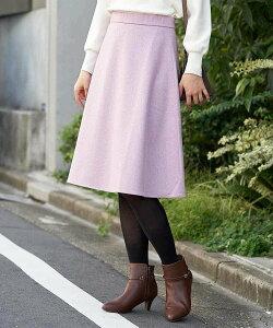 【SALE/50%OFF】OFUON ウール混フレアスカート オフオン スカート スカートその他 パープル グレー ブラック