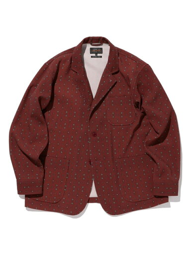 Geometric Print 4 Button Jacket 11-16-1672-791: Burgundy