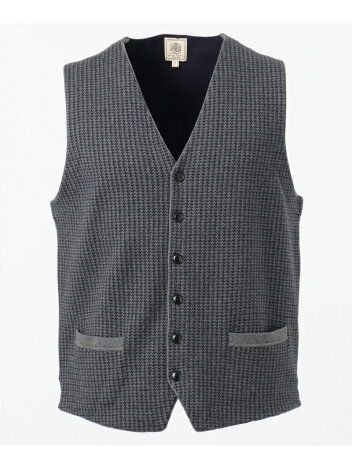 J. Press Cotton Cashmere Double Jacquard Sweater Waistcoat KROVBS0062: Grey