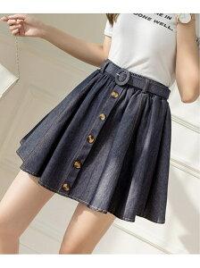Grandeir ベルト付きデニムミニスカート グランディール スカート ミニスカート ブルー
