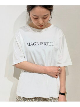 【SALE/10%OFF】le.coeur blanc MAGNIFIQUEプリントTシャツ ルクールブラン カットソー Tシャツ ホワイト ベージュ グレー【送料無料】