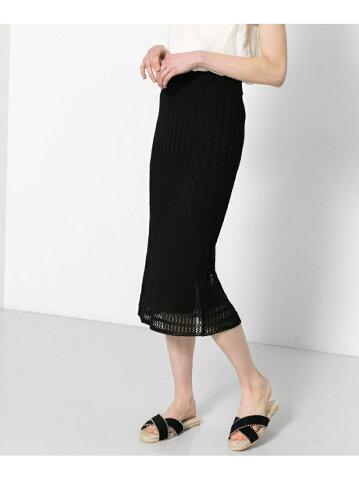 【SALE/56%OFF】SENSE OF PLACE レースニットスカート センス オブ プレイス スカート スカートその他 ブラック イエロー オレンジ ベージュ