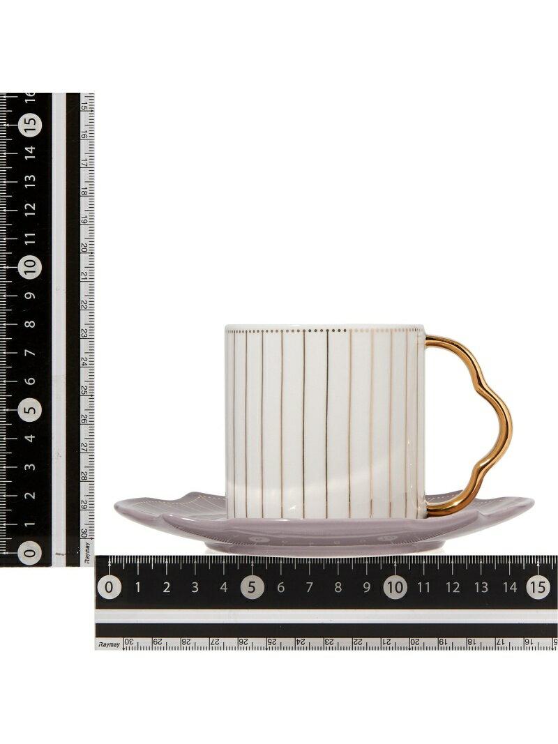 Francfrancラフィネカップ&ソーサーライトグレー×ホワイトフランフラン生活雑貨キッチン/ダイニング