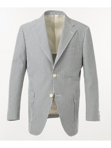 J. Press Cotton Silk Seersucker Sack Sportcoat JKOVKM0009: Stripe