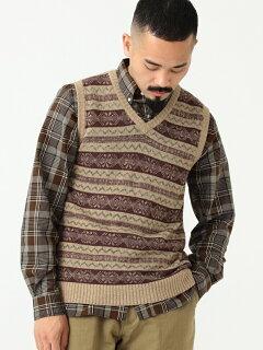 Fair Isle Linen Cotton Sweater Vest 11-05-0175-103: Khaki
