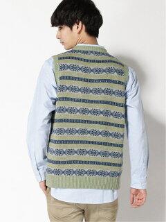 Fair Isle Linen Cotton Sweater Vest 11-05-0175-103: Green
