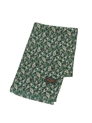 Beams Plus Silk Animal Paisley Scarf 11-45-0781-107: Navy / Red