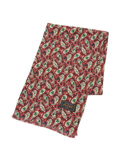 Beams Plus Silk Animal Paisley Scarf 11-45-0781-107: Green / Blue