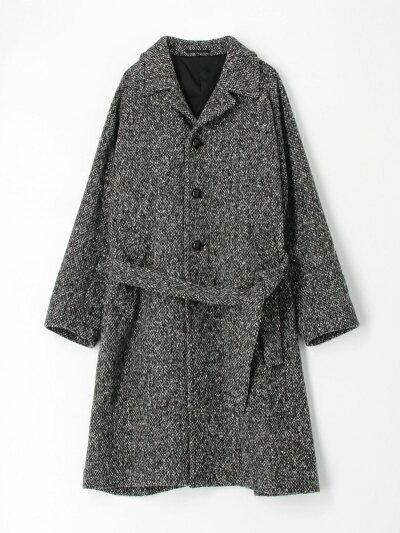 Tweed Belted Raglan Coat 61-09-04-09002: Black