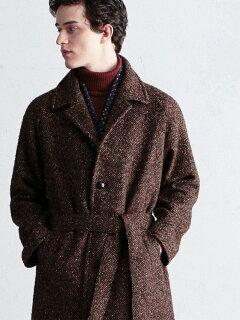 Tweed Belted Raglan Coat 61-09-04-09002: Brown