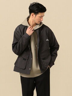 Weather Cloth Collarless Jacket 114-04-0248: Dark Grey