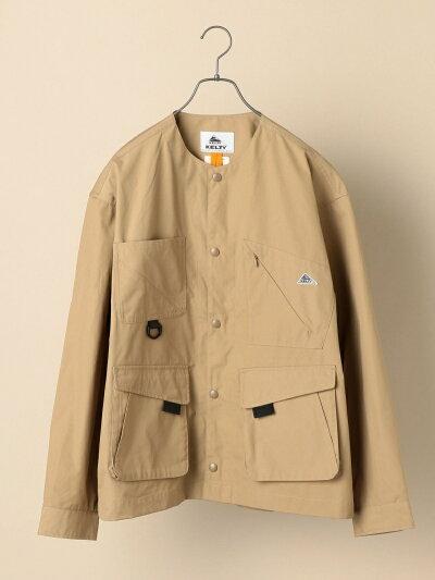 Weather Cloth Collarless Jacket 114-04-0248: Beige
