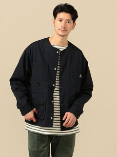 Weather Cloth Collarless Jacket 114-04-0248: Navy
