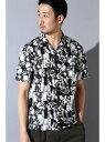 【SALE/50%OFF】TORNADO MART BLUE TORNADO∴フォトプリントオープンカラー半袖シャツ トルネードマート シャツ/ブラウス 半袖シャツ ブラック ブラウン
