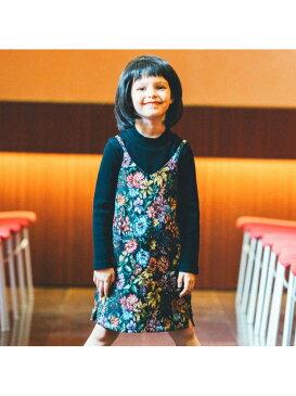 branshes ゴブラン織り花柄ジャンパースカート ブランシェス スカート ジャンパースカート ブラック