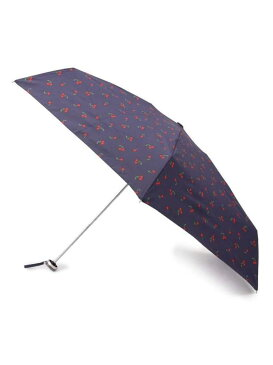 HusHusH 【晴雨兼用/50cm】 チェリー柄折りたたみ傘(because) ハッシュアッシュ ファッショングッズ 日傘/折りたたみ傘 ネイビー ホワイト