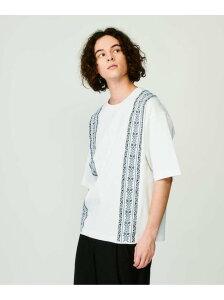 【SALE/65%OFF】tk.TAKEO KIKUCHI エスニックシシュウビッグシルエットTシャツ ティーケータケオキクチ カットソー Tシャツ ホワイト ブラック ベージュ