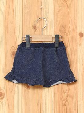 Combi mini 裾フリルスカート(デニムニット) コンビミニ スカート