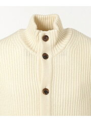 J. Press Lomas Wool Mockneck Cardigan KROVYW0414: Ivory