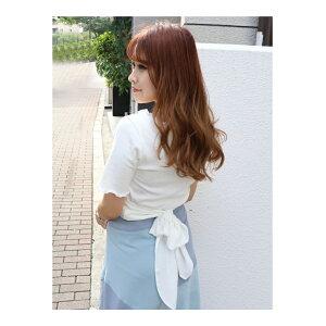 [特价/ 50%OFF] dazzlin后方缎带柔和上衣Dazurin剪裁缝制其他白色黑色橙色蓝色