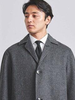 Houndstooth Wool Cotton Coat 1125-199-7369: Dark Grey