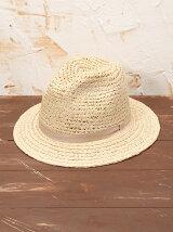 ラフィアこま編み+ブレード中折れ帽