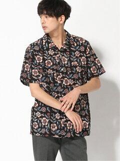 Block Print Short Sleeve Camp Shirt 11-01-1076-139: Black