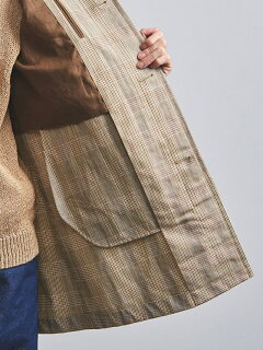 Cotton Linen Plaid Bal Collar Coat 1125-139-7166: Beige