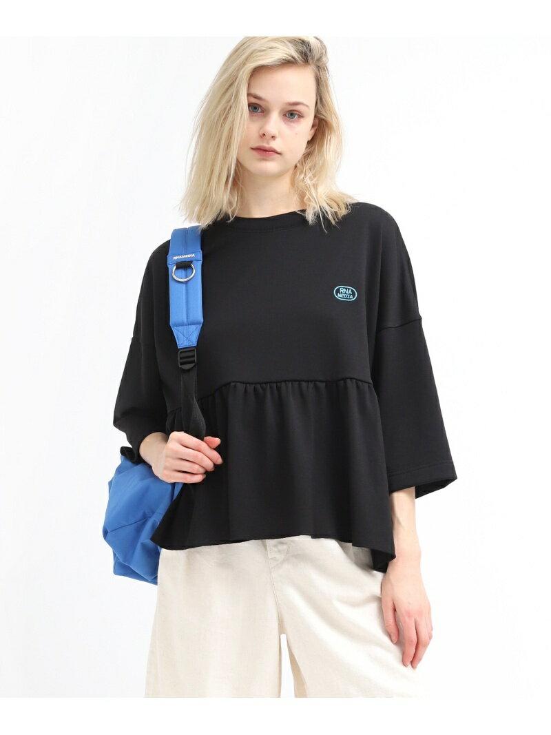 RNA ペプラムワイドTシャツ アールエヌエー カットソー Tシャツ ブラック ベージュ ホワイト【送料無料】