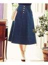 Feroux 【洗える】オータムストレッチデニム スカート フェルゥ スカート スカートその他 ブルー ブラック【送料無料】
