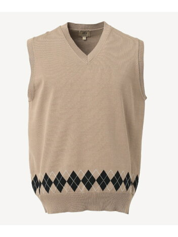 J. Press Houston Gass Cotton Jacquard V-neck Vest KROVBM0204: Beige