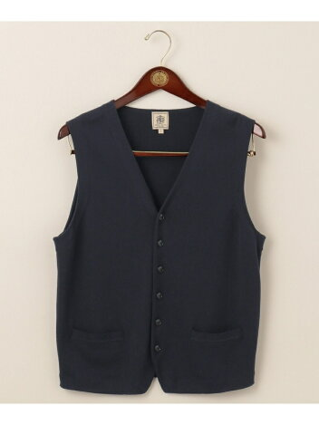 J. Press Houston Gass Cotton Sweater Waistcoat KROVBM0207: Navy