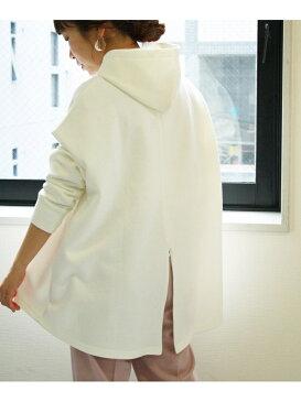 【SALE/55%OFF】le.coeur blanc バックジップスリットパーカー ルクールブラン カットソー パーカー ホワイト ベージュ ピンク ブラック